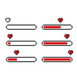 pixel heart love loading bars set vector image vector image
