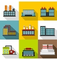 Production icons set flat style vector image vector image