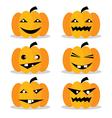 Pumpkins Halloween Set EPS10 vector image