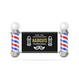 realistic detailed 3d barbershop card poster vector image vector image