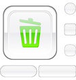 Recycle bin white button vector image vector image