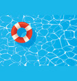 red pool ring floating in a blue swimming pool vector image