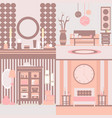 set interior design made in style collection vector image