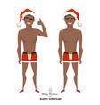 sexy black african american man wearing santa vector image vector image