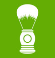 shaving brush icon green vector image vector image