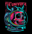 skull astronaut take over universe vector image