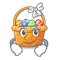 smirking easter basket isolated in the character vector image