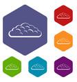 spring cloud icons set hexagon vector image vector image
