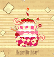 strawberry birthday cake vector image vector image