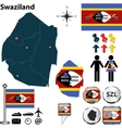 Swaziland map vector image vector image
