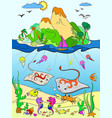 underwater world with fish plants island and vector image vector image