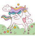 unicorn fantastic cartoon vector image