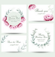 watercolor peony flowers blossom card set vintage vector image vector image