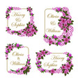 wedding invitation cards of flowers vector image vector image