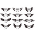 wings logo winged emblems angel and phoenix vector image