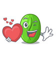 with heart green coffee beans in cartoon bowl vector image