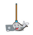with laptop mop character cartoon style vector image vector image
