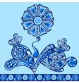 fantasy flower pattern blue vector image