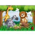 A group of animals in the middle of the forest vector image vector image