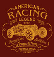 american racing team legendary car competition vector image vector image