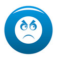 angry smile icon blue vector image