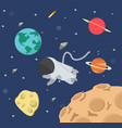 astronaut in space flat design vector image vector image