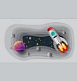 astronaut rocket paper art design vector image vector image