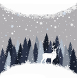 Background with winter forest snow and deer vector image vector image