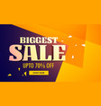 biggest sale banner with yellow and purple vector image vector image