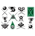 Billiard pool and snooker sports emblems vector image vector image