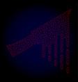 bloody knife polygonal frame mesh vector image vector image