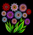 bouquet of colorful flowers and a bunch of green vector image vector image