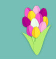 bouquet of eleven paper cut tulip flowers on blue vector image
