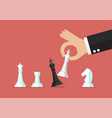 businessman hand use white king checkmate the vector image vector image