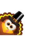 Cartoon turkey in a pilgrim hat vector image vector image
