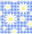 Chamomiles on blue checkered background vector | Price: 1 Credit (USD $1)
