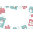 christmas banner design gift box and snowflake vector image vector image