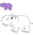 connect the number to draw the animal game hippo vector image