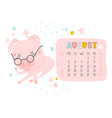 creative calendar for august 2019 with cute pig vector image vector image