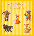 cute wild animals cartoon on sticker vector image vector image