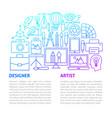designer artist line template vector image