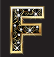 F gold letter with swirly ornaments vector image vector image