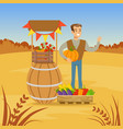 farmer man selling fresh vegetables from his farm vector image