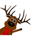 funny reindeer in a scarf for christmas smiling vector image vector image