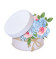 gift box with a bouquet of roses and phloxes vector image