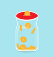 glass bank with falling gold coins - contribution vector image