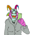 Goat making photo with smartphone vector image vector image