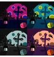 Halloween landscapes set vector image