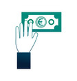hand holding banknote euro money cash vector image vector image