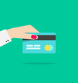 hand holding credit or debit card vector image vector image